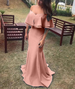 Pink Off Shoulder Ruffles Mermaid Satin Prom Dresses Long Evening Dresses,B0967