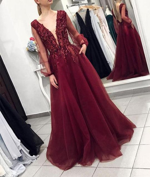 Burgundy V Neck Long Sleeve Prom Dresses Lace Beaded Evening Dresses,B0973