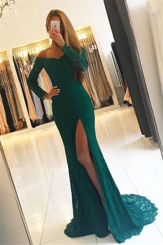 Green Off Shoulder Long Sleeve Split Prom Dresses Lace Evening Dresses,B0993