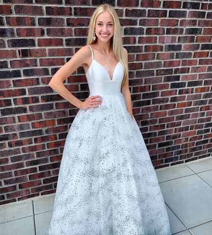 V-Neck Prom Dress,Newest Prom Dress,Tulle Prom Dress,A-Line Prom Dress,Long Prom Dress,Evening Dress,DR2740