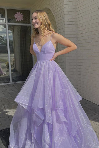 Purple v neck tulle long A line prom dress evening dress,DR2737