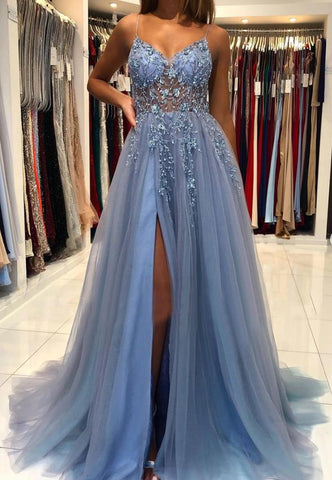Blue v neck tulle beads long prom dress evening dress,DR2732