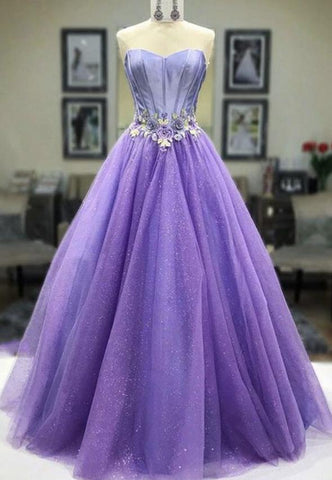 Purple tulle long prom dress purple evening dress,DR2729