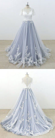 Blue Gray Tulle Ivory Lace Short Sleeve Beach Wedding Dress, Long Pageant Prom Dress,C0032