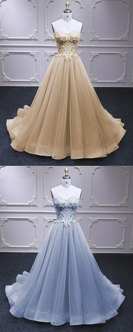 Sweetheart Champagne Tulle A Line Beaded Long Lace Pageant Dress, Sweet 16 Prom Dress,C0033