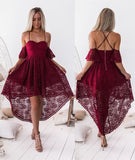 A-Line Off the Shoulder Lace High Low Party Dress Burgundy Homecoming dress,C0057