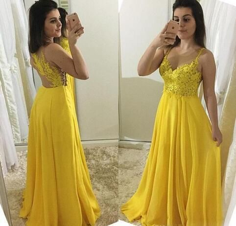 Yellow Prom Dress,A-Line Prom Gown,Spaghetti straps Prom Dress,Appliques Prom Gown ,C0095