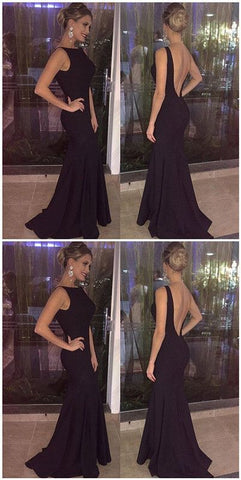 Black Sleeveless Open Back Long Bridesmaid Dress,C0147