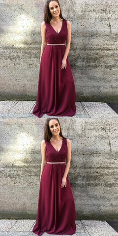 Simple A Line V Neck Pleated Burgundy Chiffon Prom/Bridesmaid Dress With Beading,C0173