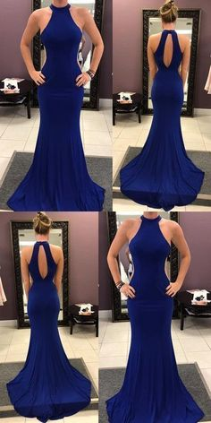 Charming Beautiful Royal Blue Prom Dress, Sexy Prom Dress, Keyhole Back Prom Dresses, Mermaid Evening Dress,Sweep Train Party Dress,C0206