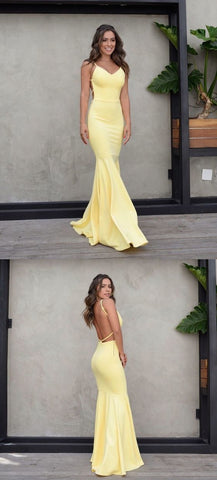 Sexy Mermaid Backless V-Neck Prom Dress, Yellow Jersey Spaghetti Straps Prom Dress,C0209