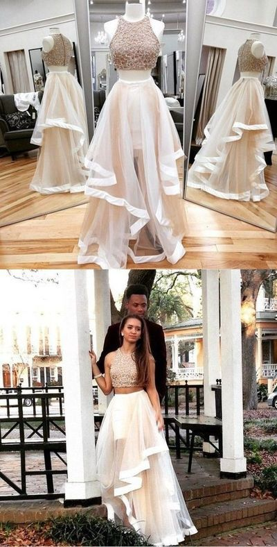 Two Pieces Prom Dress,A Line Prom Dress,Custom Made Evening Dress,C0217