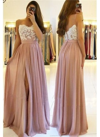 Elegant Lace Spaghetti Straps Prom Dress | Long Chiffon Evening Dress With Slit,C0221