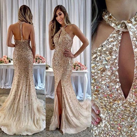 Sexy Beaded Backless Prom Dress, Luxury Tulle Mermaid Prom Dress ,C0224