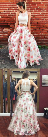 unique white floral long prom dresses, modest two piece lace top party dresses, elegant 2 piece evening gowns with pleats ,C0228