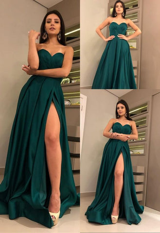 Charming Sweetheart Dark Green Prom Dress with Split Satin Long Prom Gown,C0229