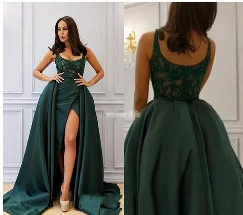 Hunter Green High Split Prom Dress,Sexy A Line Prom Dresses ,Spaghetti Sleeveless Zipper Prom Dress,Lace Appliques Evening Dresses,Empire Satin Sweep Train Evening Dresses,C0230