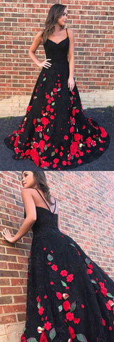 A-Line Spaghetti Straps Sweep Train Black Lace Sleeveless Prom Dress with Appliques,C0232