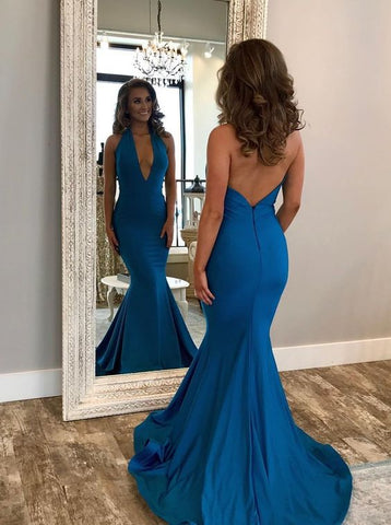 Mermaid Halter Backless Sweep Train Royal Blue Prom Dress,C0233