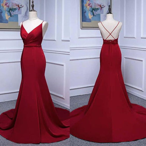 Ruby Red Mermaid Prom Dress Long Evening Party Gown for women with Beaded Belt with Spaghetti Straps,C0237