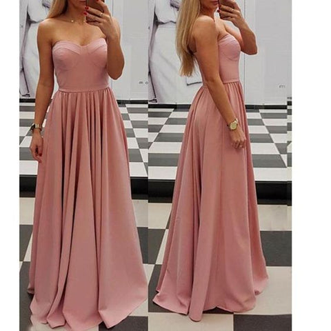 Elegant Pink Sweetheart A Line Prom Dress 2018 Sexy Sleeves Evening Long Dress,C0238