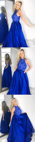 A-Line Jewel Floor-Length Royal Blue Beaded Prom Dress with Lace Pockets,C0250