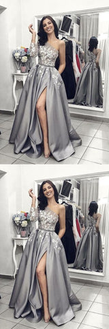 A Line One Shoulder Silver Long Satin Prom Dress with Applique,C0252