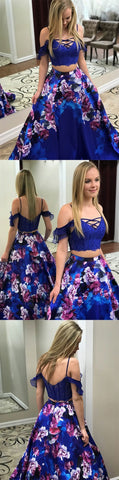 Two Piece Spaghetti Straps Royal Blue Lace Bodice Printed Prom Dress with Pockets,C0291
