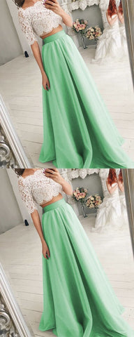 Two Piece Wedding Dresses Tulle Floor Length With Lace Crop,C0383