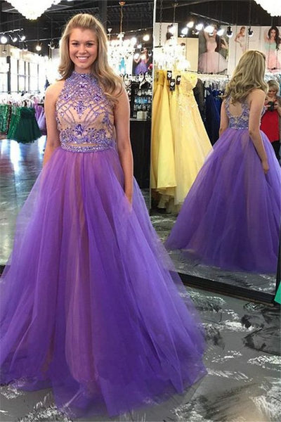 Two Pieces Beaded Long Prom Dresses Fashion Winter Formal Dress Popular Wedding Party Dress,C0466
