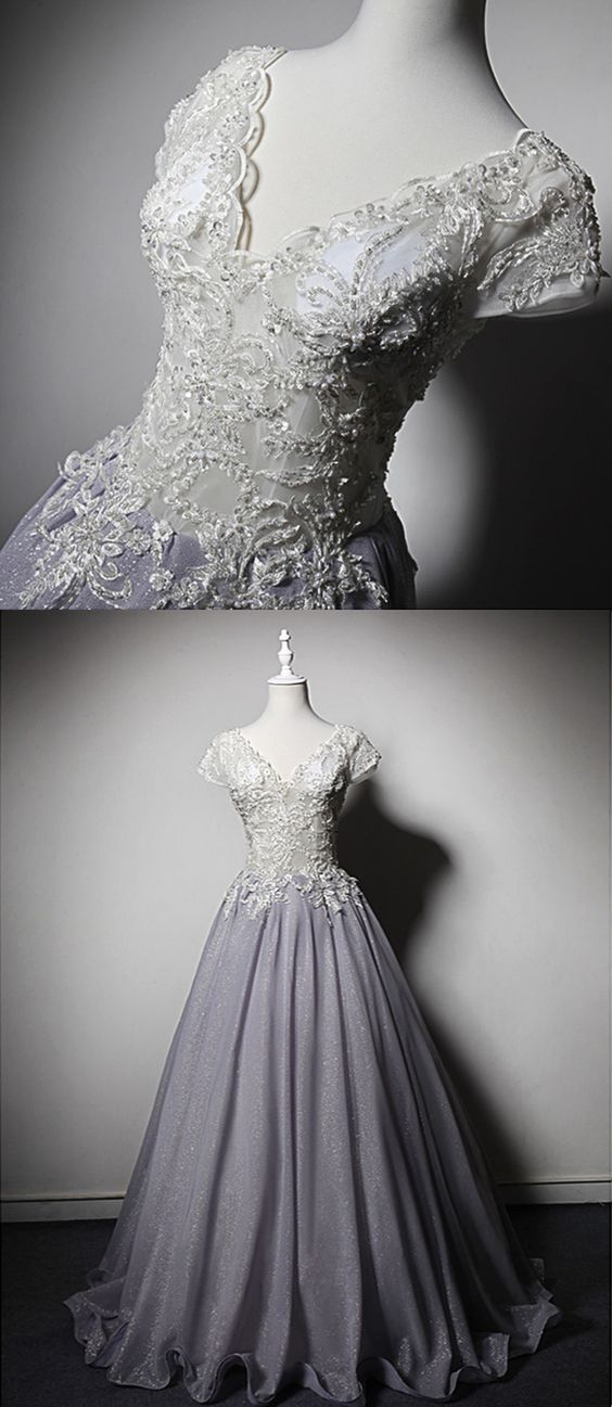 White Lace V Neck Short Sleeves Long Handmade Senior Prom Dress, Long Evening Dress,C0567