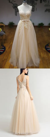 Light Champagne Tulle V Neck Long Formal Prom Dress, Bridesmaid Dress With Bowknot,C0570