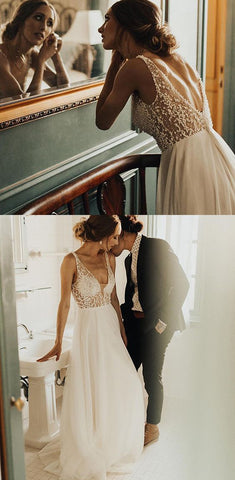 Chic Long Wedding Dress with Pearl Beaded,C0592