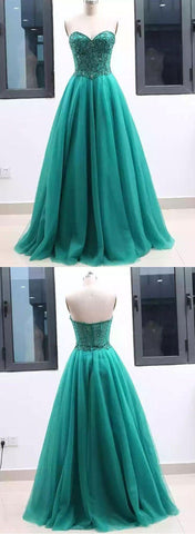 Sweetheart green tulle long a line prom dress, green evening dress ,C0635