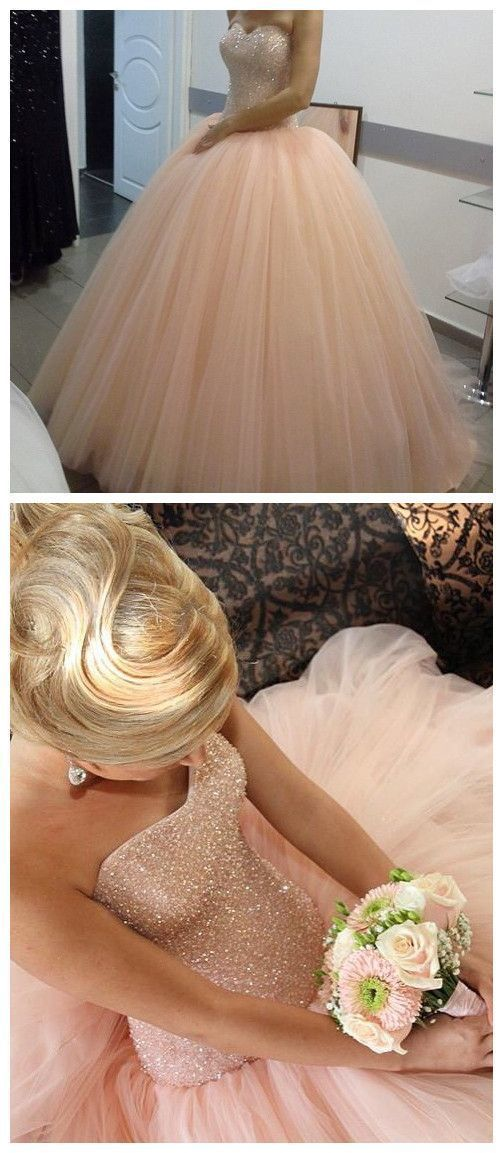 Stunning Gorgeous New Arrival Prom Dress, Modest Prom Dress, Fabulous pink tulle Sparkly Ball Gown Prom Dress,C0655