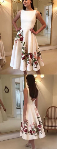 A-Line Bateau Backless Tea-Length White Prom Homecoming Dress with Appliques,C0697