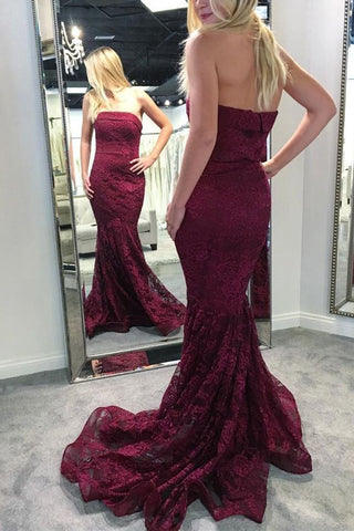 Gorgeous Strapless Mermaid Burgundy Lace Long Bridesmaid Dress,C0709