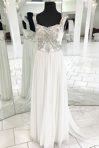 White Chiffon Open Back V Neck Long Beaded Prom Dress, Wedding Dress,C0780