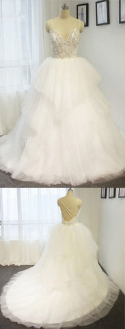 Spring white tulle V neckline long beaded train wedding dress with spaghetti straps from Sweetheart Dress,C0797