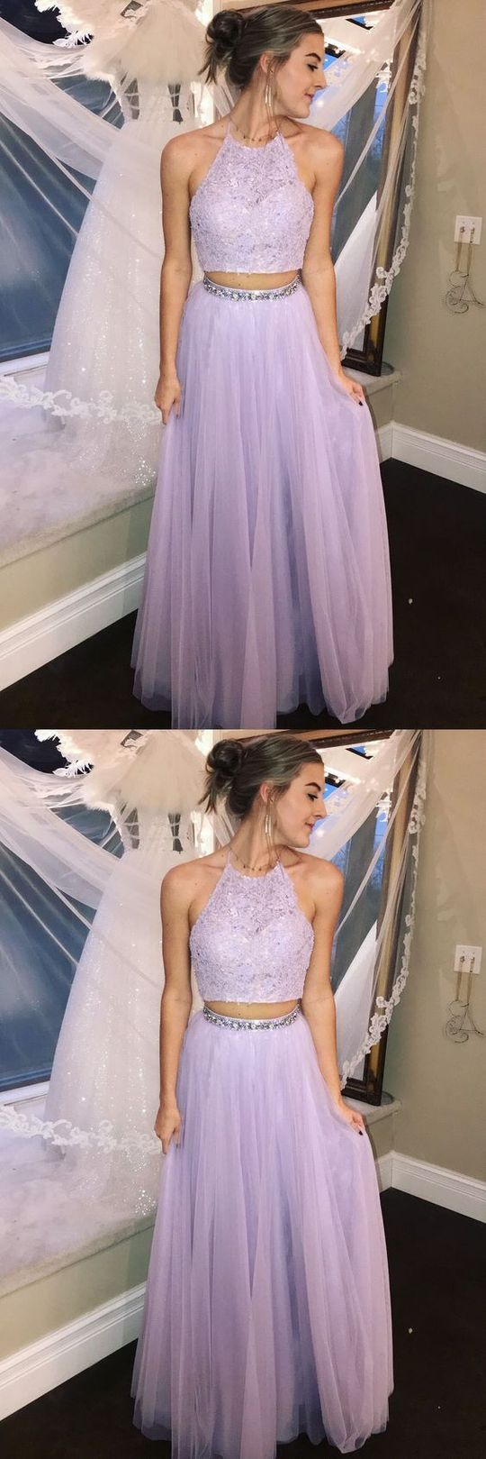 2 Pieces Long Prom Dresses Beads Evening Dresses Tulle A-Line Formal Dresses,C0934