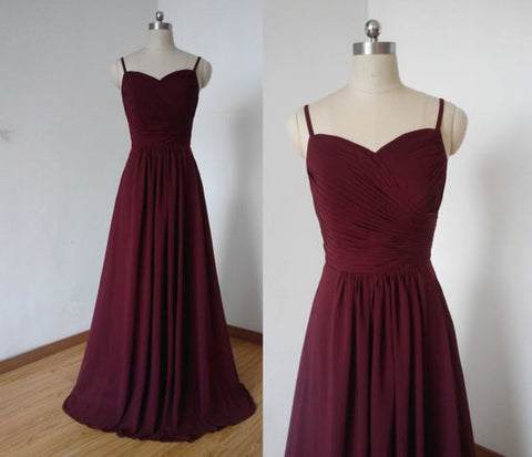 A-line Spaghetti Straps Burgundy Pleated Chiffon Long Bridesmaid Dress,C0943