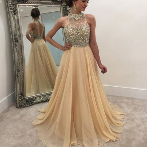2019 High Neck Rhinestone Open Back Long A-line Prom Dresses,C0944