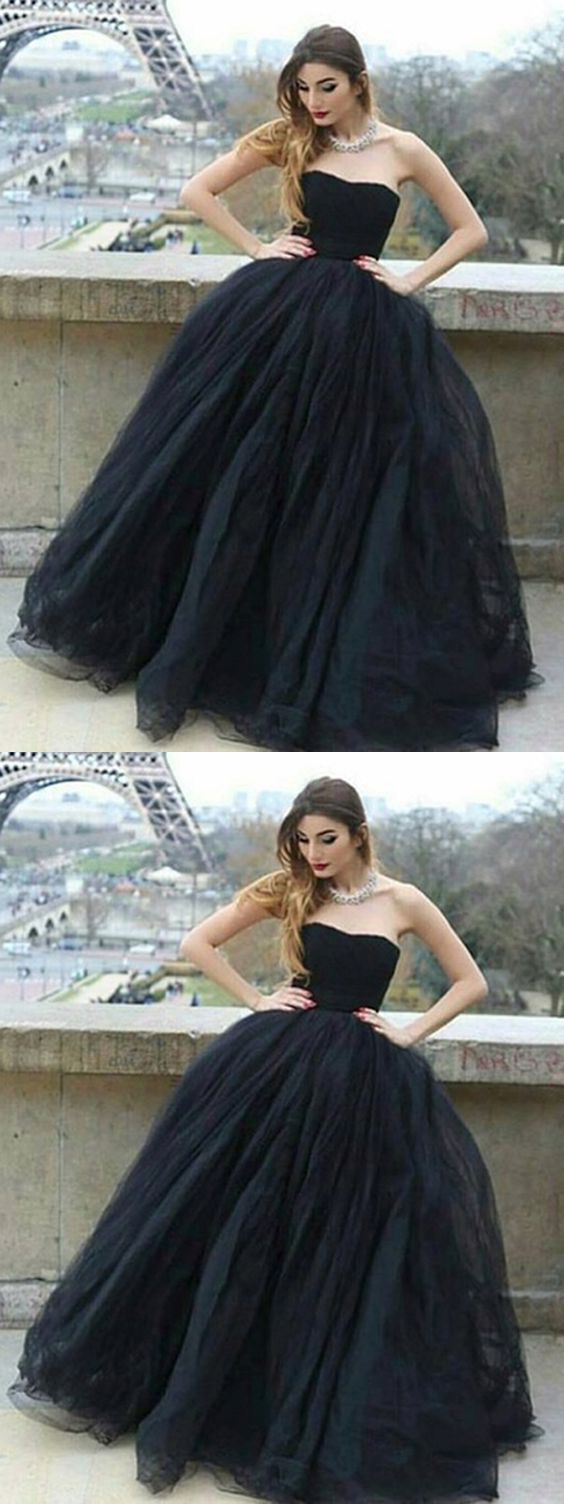 2019 Black Long Prom Dress Ball Gown Simple Modest Strapless Cheap Prom Dress,C0946