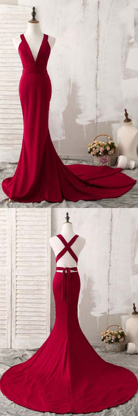 Elegant Red Mermaid Plunging V-Neck Prom Evening Dresses  , D0001