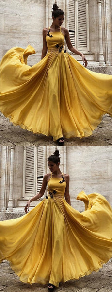 A-Line Halter Floor-Length Yellow Chiffon Prom Dress with Flowers, D0003