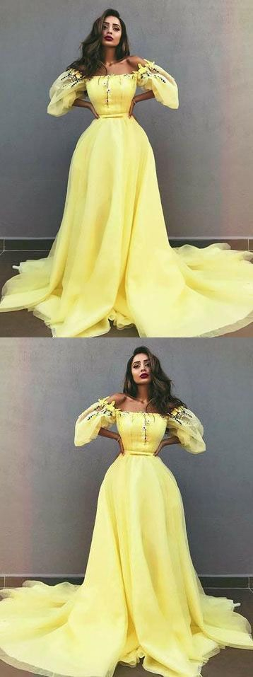 A-Line Off-the-Shoulder Yellow Tulle Prom Dress with Appliques, D0004