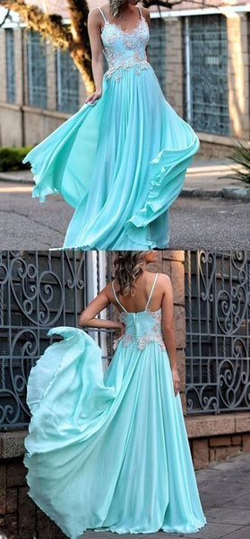 A-line spaghetti straps prom dress floor length blue lace prom dress evening dresses, D0005