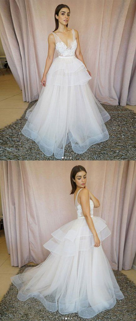 White v neck tulle lace long prom dress, white tulle evening dress, D0006