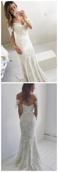 Affordable Off The Shoulder Mermaid Lace Long Prom Wedding Dresses, D0010