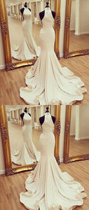 White Mermaid Satin Long Prom Dress, White Evening Dress, White Formal Dress, D0015